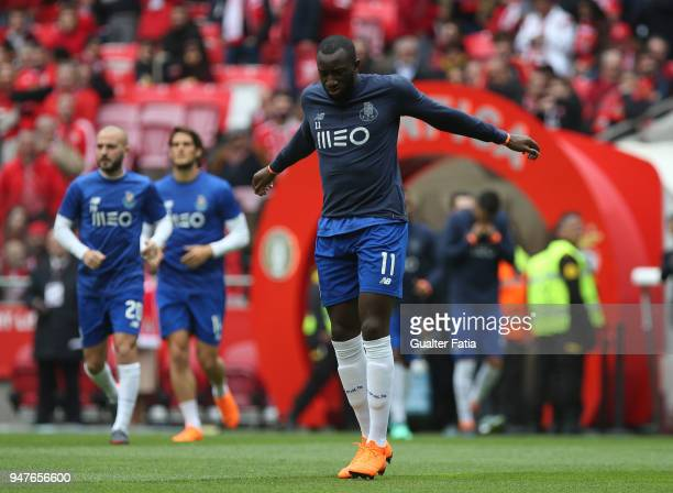 Porto forward Moussa Marega from Mali in action during warm up before the start of the Primeira Liga match between SL Benfica and FC Porto at Estadio...