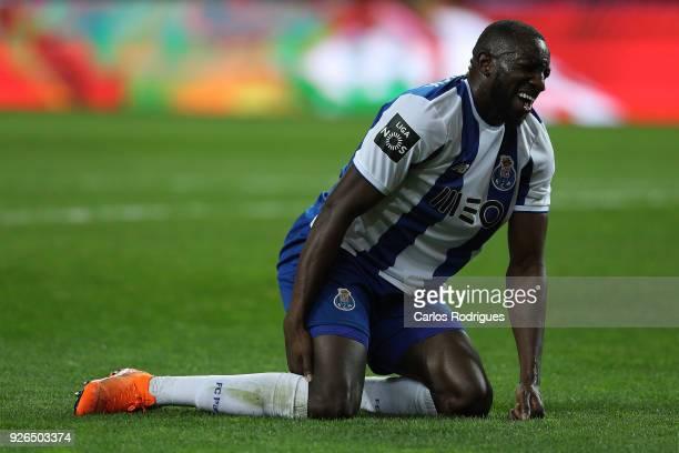 Porto forward Moussa Marega from Mali injures during the Portuguese Primeira Liga match between FC Porto and Sporting CP at Estadio do Dragao on...