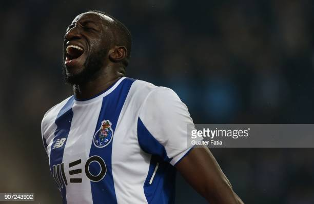 Porto forward Moussa Marega from Mali reaction after missing a goal opportunity during the Primeira Liga match between FC Porto and CD Tondela at...