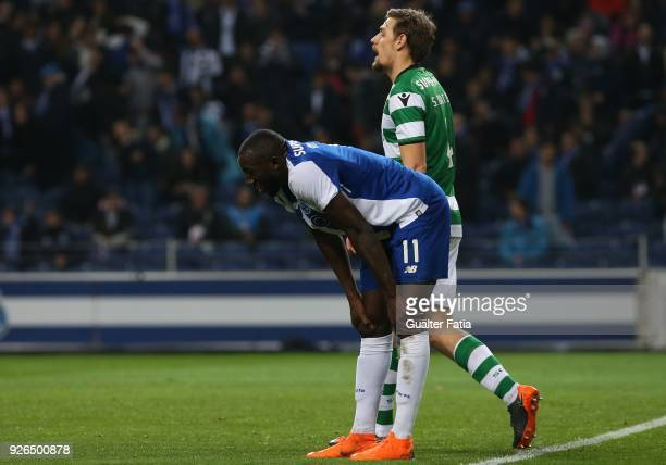 Porto forward Moussa Marega from Mali reaction after missing a goal opportunity during the Primeira Liga match between FC Porto and Sporting CP at...