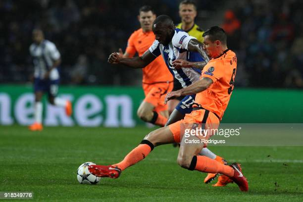 Porto forward Moussa Marega from Mali vies with Liverpool defender Dejan Lovren from Croatia for the ball possession during the UEFA Champions League...