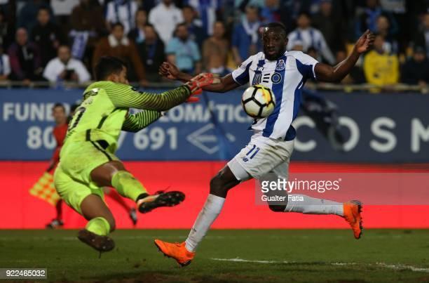 Porto forward Moussa Marega from Mali with GD Estoril Praia goalkeeper Renan Ribeiro from Brazil in action during the Primeira Liga match between GD...