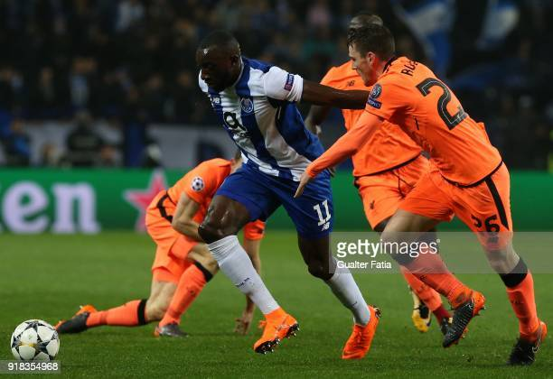 Porto forward Moussa Marega from Mali with Liverpool defender Andy Robertson from Scotland in action during the UEFA Champions League Round of 16...