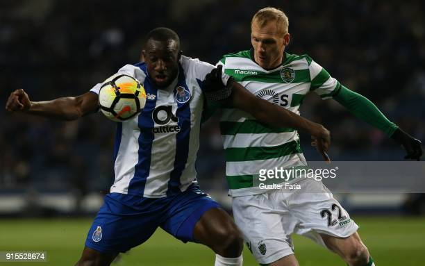 Porto forward Moussa Marega from Mali with Sporting CP defender Jeremy Mathieu from France in action during the Portuguese Cup Semi Final Leg One...