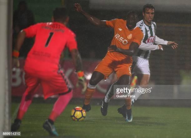 Porto forward Moussa Marega from Mali with Vitoria Setubal midfielder Tomas Podstawski from Portugal in action during the Primeira Liga match between...