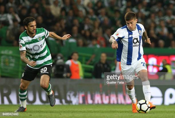 Porto forward Otavio from Brazil with Sporting CP forward Bryan Ruiz from Costa Rica in action during the Portuguese Cup match between Sporting CP...