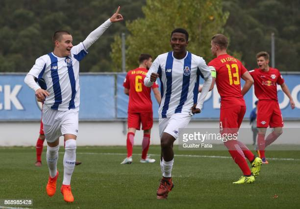 Porto forward Paulo Estrela celebrates after scoring a goal during the UEFA Youth League match between FC Porto and RB Leipzig at Centro de Estagios...