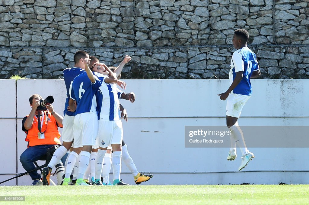 FC Porto forward Paulo Estrela from Portugal celebrates after scoring Porto second goal with his team mates during the match between FFC Porto v Besiktas JK for the UEFA Youth Champions League match at Centro de Treino do Olival on September 13, 2017 in Porto, Portugal.