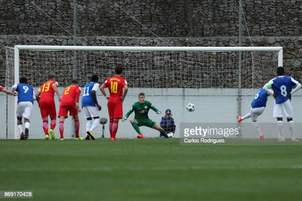 Porto forward Paulo Estrela from Portugal scores Porto Frist goal during the match between FC Porto v RB Leipzig for the UEFA Youth Champions League...