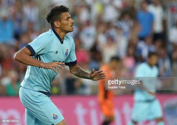 Porto forward Soares from Brazil celebrates after scoring a goal during the PreSeason Friendly match between Portimonense SC and FC Porto at Estadio...