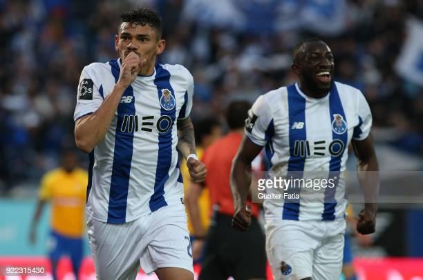 Porto forward Tiquinho Soares from Brazil celebrates after scoring a goal during the Primeira Liga match between GD Estoril Praia and FC Porto at...