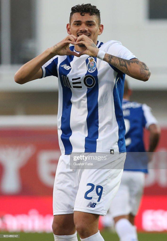 FC Porto forward Tiquinho Soares from Brazil celebrates after scoring a goal during the Primeira Liga match between GD Estoril Praia and FC Porto at Estadio Antonio Coimbra da Mota on February 21, 2018 in Estoril, Portugal.