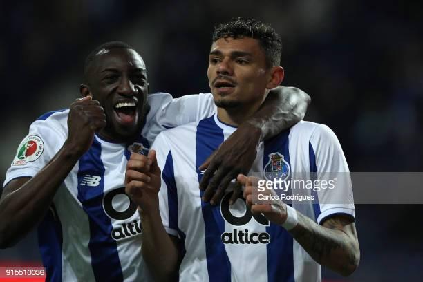 Porto forward Tiquinho Soares from Brazil celebrates scoring Porto goal with FC Porto forward Moussa Marega from Mali during the FC Porto v Sporting...