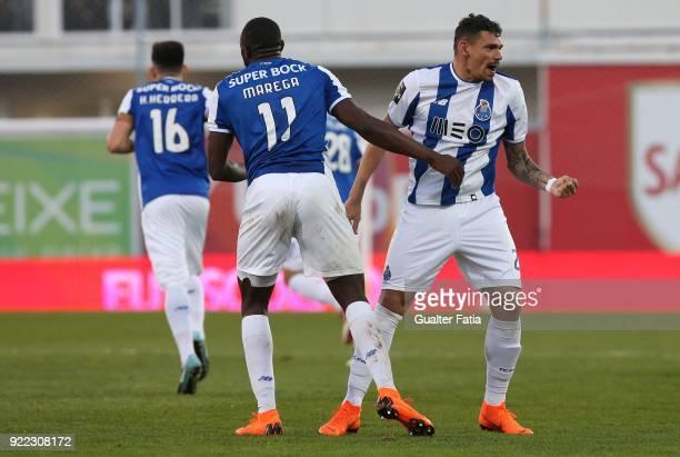 Porto forward Tiquinho Soares from Brazil celebrates with teammate FC Porto forward Moussa Marega from Mali after scoring a goal during the Primeira...