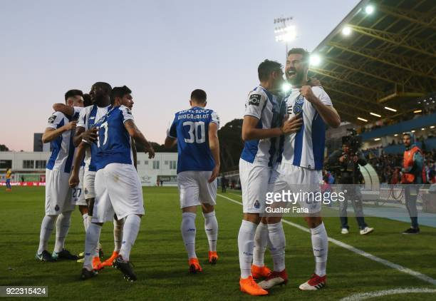 Porto forward Tiquinho Soares from Brazil celebrates with teammates after scoring a goal during the Primeira Liga match between GD Estoril Praia and...