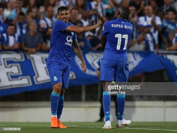 Porto forward Tiquinho Soares from Brazil with FC Porto forward Moussa Marega from Mali during the PreSeason Friendly match between Portimonense SC...