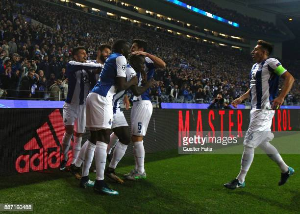 Porto forward Vincent Aboubakar from Camaroes ccelebrates with teammates after scoring a goal during the UEFA Champions League match between FC Porto...