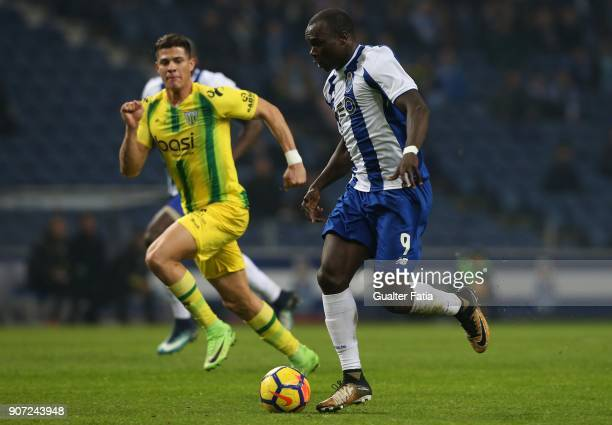 Porto forward Vincent Aboubakar from Camaroes in action during the Primeira Liga match between FC Porto and CD Tondela at Estadio do Dragao on...