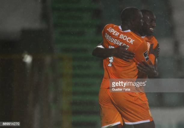 Porto forward Vincent Aboubakar from Cameroon celebrates with teammate FC Porto forward Moussa Marega from Mali after scoring a goal during the...