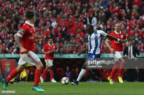 Porto forward Vincent Aboubakar from Cameroon in action during the Primeira Liga match between SL Benfica and FC Porto at Estadio da Luz on April 15...