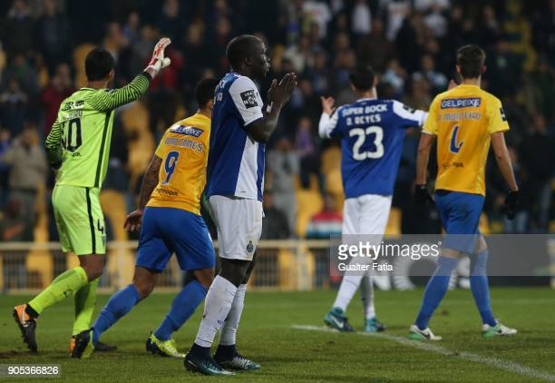 Porto forward Vincent Aboubakar from Cameroon reaction after missing a goal opportunity during the Primeira Liga match between GD Estoril Praia and...