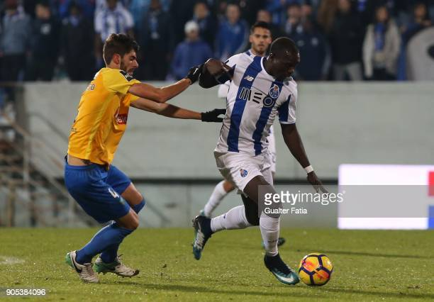 Porto forward Vincent Aboubakar from Cameroon with GD Estoril Praia defender Pedro Monteiro from Portugal in action during the Primeira Liga match...