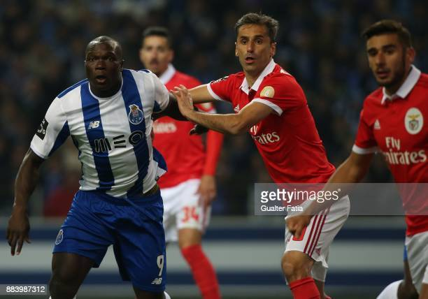 Porto forward Vincent Aboubakar from Cameroon with SL Benfica forward Jonas from Brazil during the Primeira Liga match between FC Porto and SL...