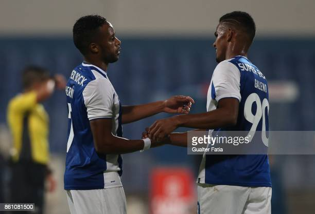 Porto forward Wenderson Galeno from Brazil celebrates with teammate FC Porto forward Hernani Fortes from Portugal after scoring a goal during the...