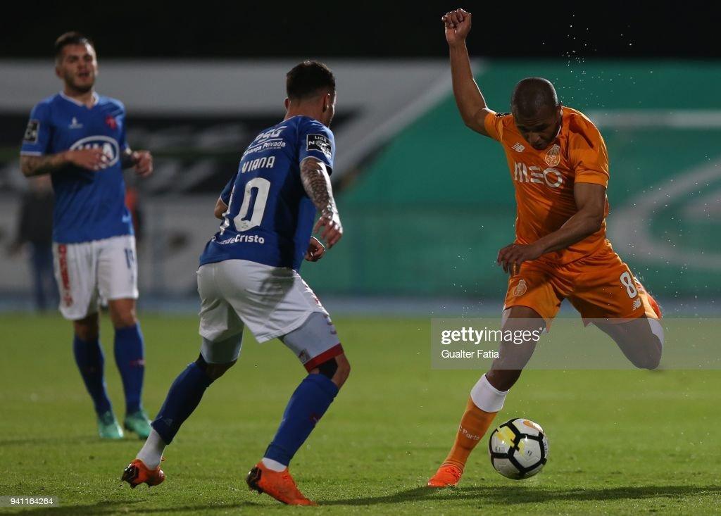 FC Porto forward Yacine Brahimi from Algeria in action during the Primeira Liga match between CF Os Belenenses and FC Porto at Estadio do Restelo on April 2, 2018 in Lisbon, Portugal.