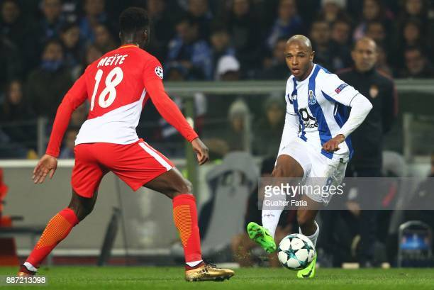 Porto forward Yacine Brahimi from Algeria in action during the UEFA Champions League match between FC Porto and AS Monaco at Estadio do Dragao on...