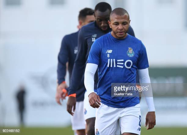 Porto forward Yacine Brahimi from Algeria in action during the warm up before the start of the Primeira Liga match between GD Estoril Praia and FC...