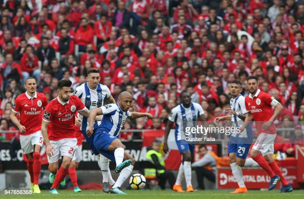 Porto forward Yacine Brahimi from Algeria with SL Benfica forward Pizzi from Portugal in action during the Primeira Liga match between SL Benfica and...
