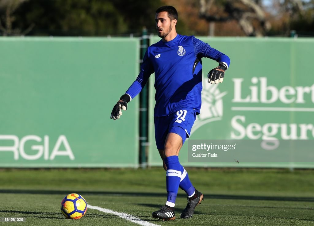 FC Porto goalkeeper Diogo Costa from Portugal in action during the Segunda Liga match between Sporting CP B and FC Porto B at CGD Stadium Aurelio Pereira on December 2, 2017 in Alcochete, Portugal.