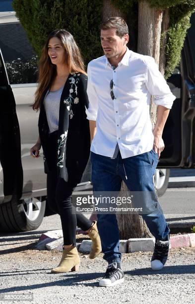 Porto goalkeeper Iker Casillas and Sara Carbonero are seen on October 8 2017 in Madrid Spain