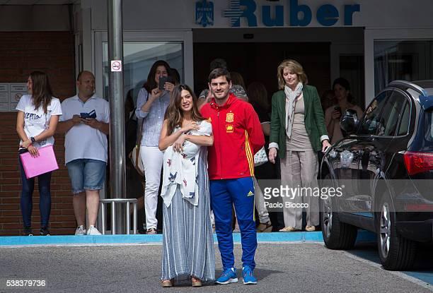 Porto goalkeeper Iker Casillas and Sara Carbonero present their newborn child Lucas at Ruber International Hospital on June 6 2016 in Madrid Spain