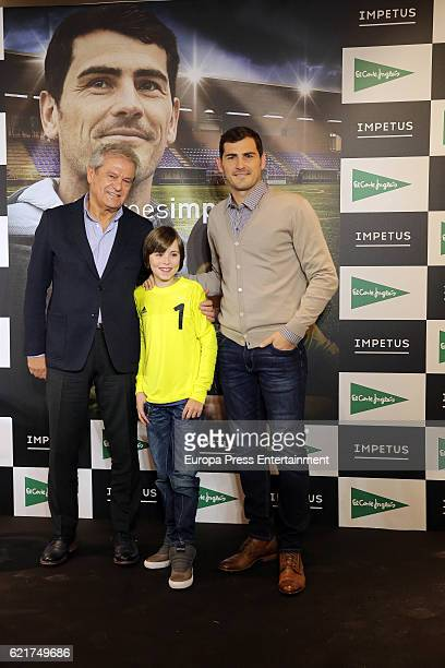 Porto goalkeeper Iker Casillas and the boy Hugo present their short film 'Heroes Terrenales' at 'El Corte Ingles' Store on November 7 2016 in Madrid...