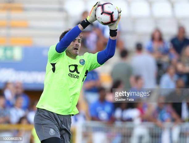 Porto goalkeeper Iker Casillas catches the ball before the start of the PreSeason Friendly match between Portimonense SC and FC Porto at Estadio...