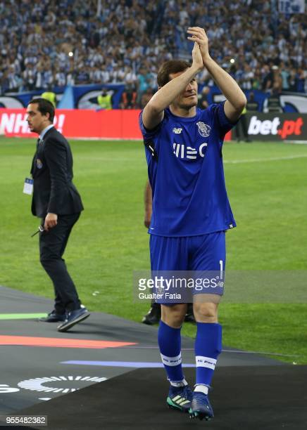 Porto goalkeeper Iker Casillas from Spain celebrates the league title at the end of the Primeira Liga match between FC Porto and CD Feirense at...