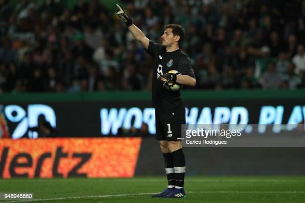 Porto goalkeeper Iker Casillas from Spain during the Sporting CP v FC Porto Portuguese Cup semi finals 2 leg at Estadio Jose Alvalade on April 18...