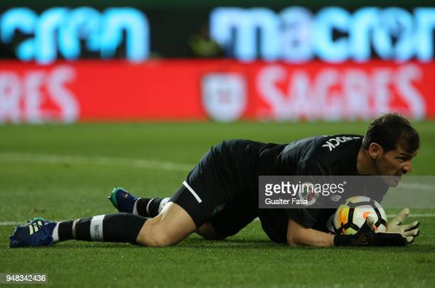 Porto goalkeeper Iker Casillas from Spain in action during the Portuguese Cup match between Sporting CP and FC Porto at Estadio Jose Alvalade on...