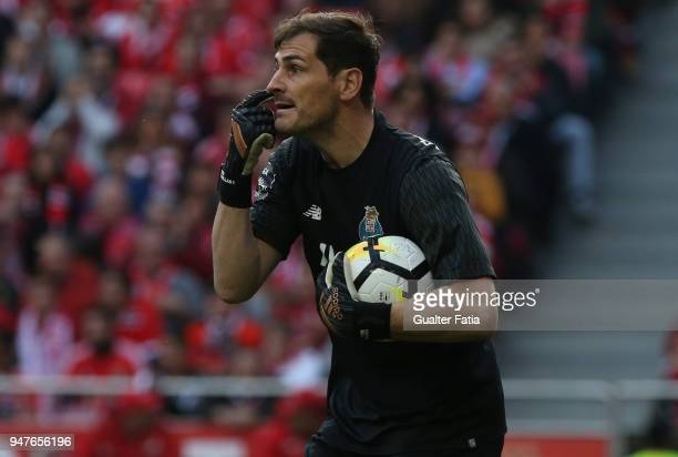 Porto goalkeeper Iker Casillas from Spain in action during the Primeira Liga match between SL Benfica and FC Porto at Estadio da Luz on April 15 2018...