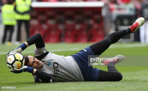 Porto goalkeeper Iker Casillas from Spain in action during warm up before the start of the Primeira Liga match between SL Benfica and FC Porto at...
