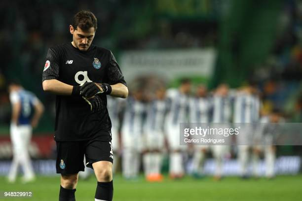 Porto goalkeeper Iker Casillas from Spain prepares itself to defende the penalties during the Sporting CP v FC Porto Portuguese Cup semi finals 2 leg...