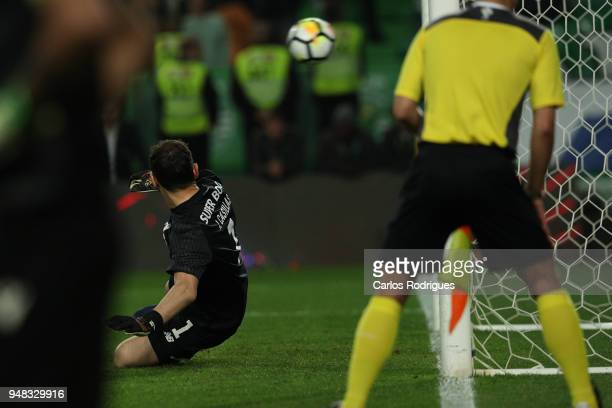 Porto goalkeeper Iker Casillas from Spain watch the ball go in the goal during the penalties kickoff during the Sporting CP v FC Porto Portuguese Cup...