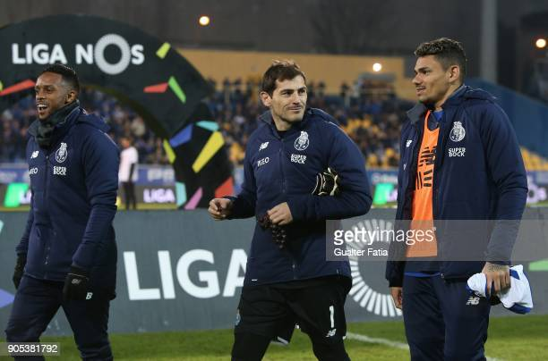 Porto goalkeeper Iker Casillas from Spain with FC Porto forward Tiquinho Soares from Brazil and FC Porto forward Hernani Fortes from Portugal before...