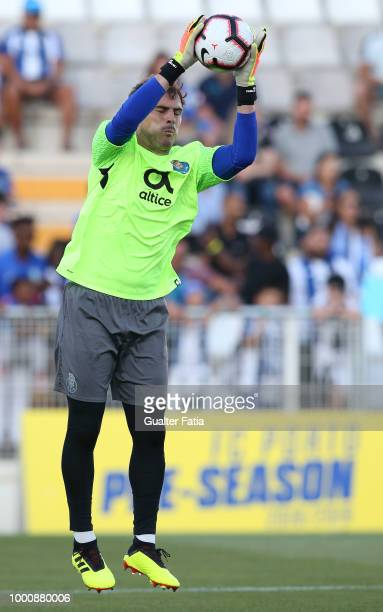 Porto goalkeeper Iker Casillas warms up before the start of the PreSeason Friendly match between Portimonense SC and FC Porto at Estadio Municipal de...