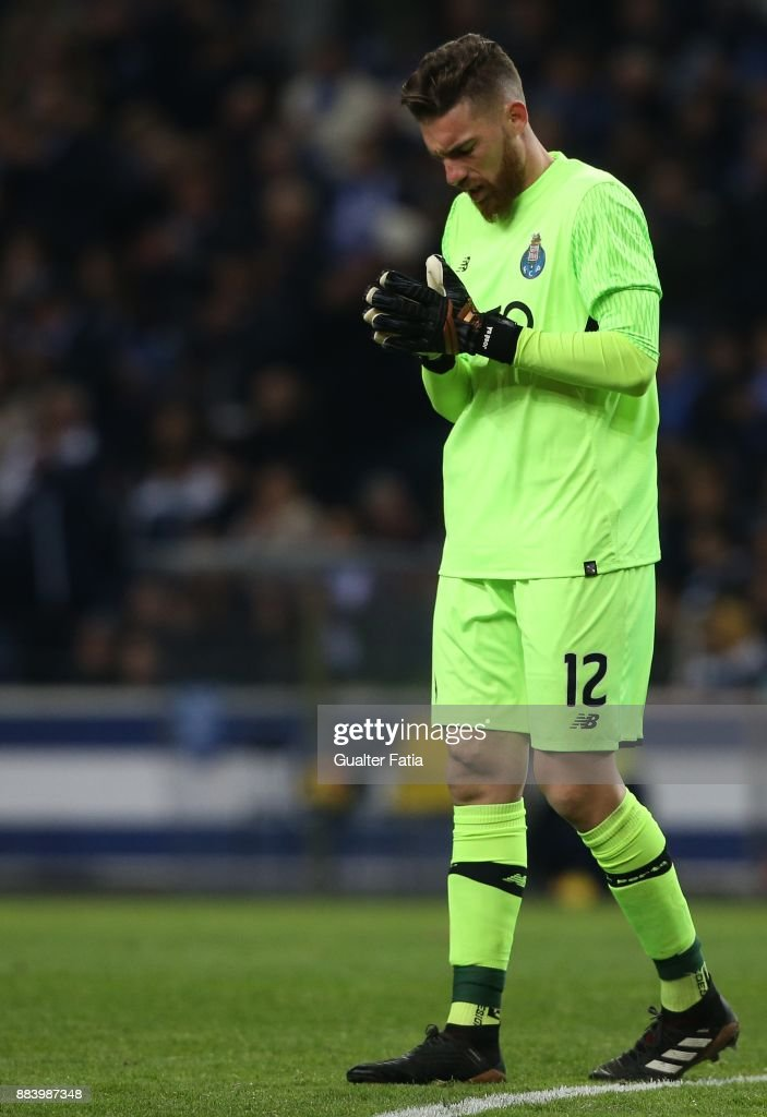 FC Porto goalkeeper Jose Sa from Portugal in action during the Primeira Liga match between FC Porto and SL Benfica at Estadio do Dragao on December 1, 2017 in Porto, Portugal.