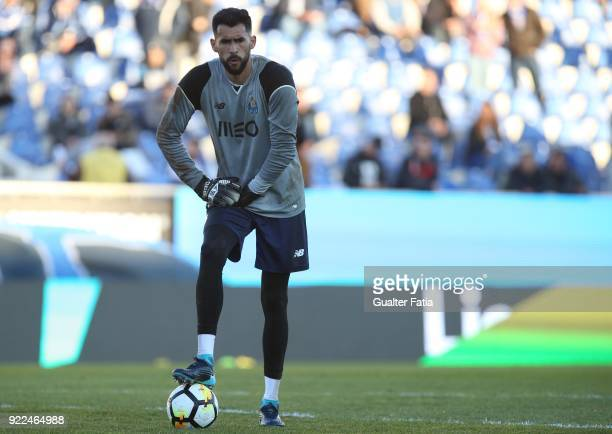 Porto goalkeeper Vana Alves from Brazil in action during the warm up before the start of the Primeira Liga match between GD Estoril Praia and FC...