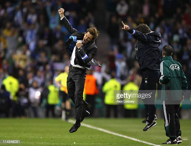 Porto Head Coach Andre Villas Boas and his assistant Jose Mario Rocha celebrate victory during the UEFA Europa League Final between FC Porto and SC...