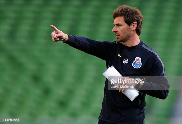 Porto Head Coach Andre Villas Boas gives instructions during a FC Porto training session ahead of their UEFA Europa League Final against SC Braga at...